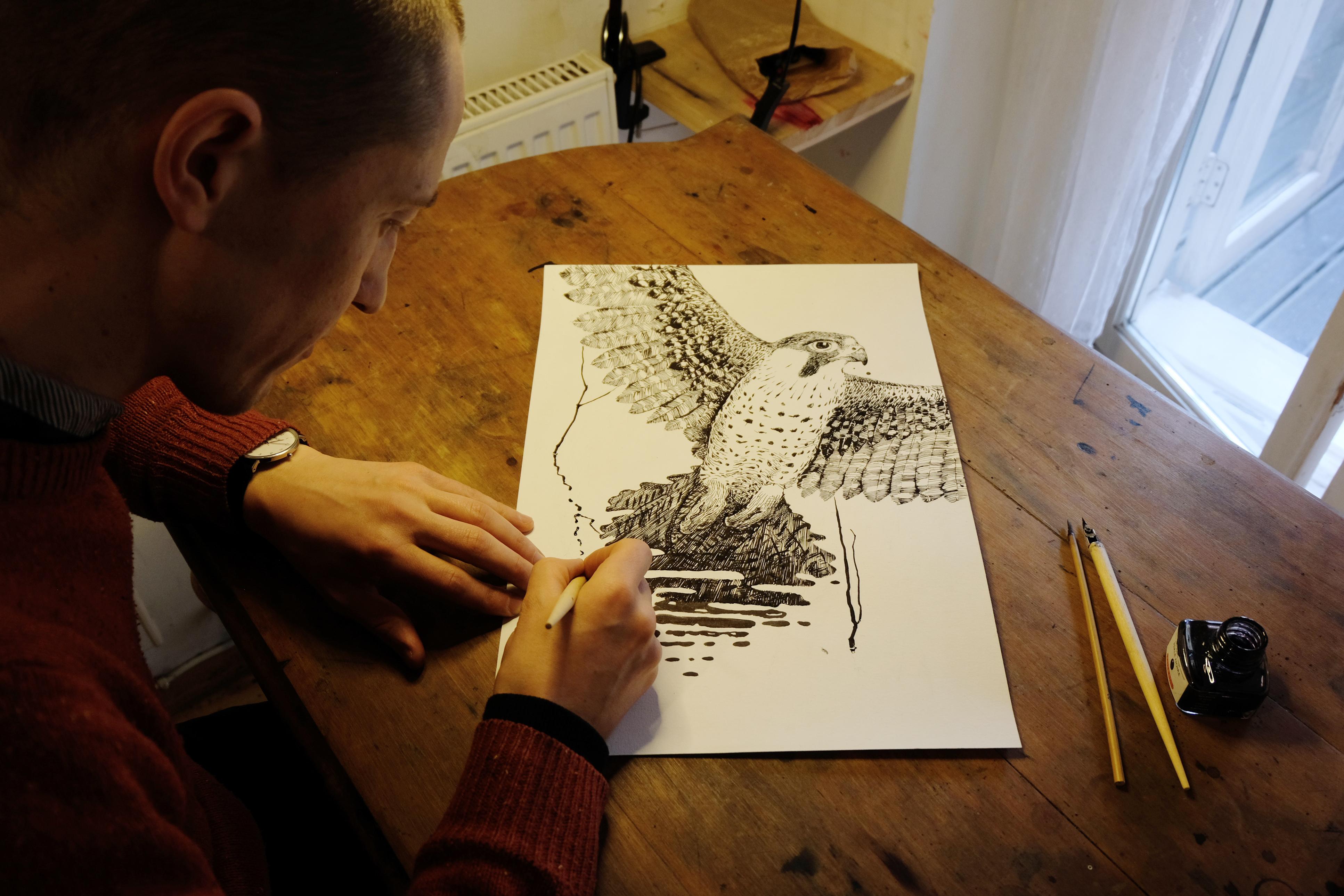 Nestor Ljutjuk working on Poetics Illustration